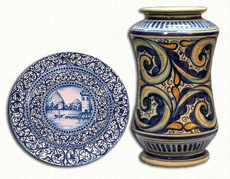 Coppia burnie ceramica terracotta maiolica caltagirone